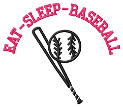 Eat-Sleep-Baseball embroidery design