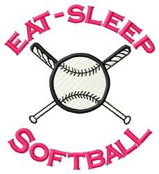 Eat- Sleep Softball embroidery design
