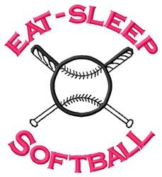 Eat-Sleep Softball embroidery design