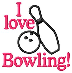 I Love Bowling embroidery design