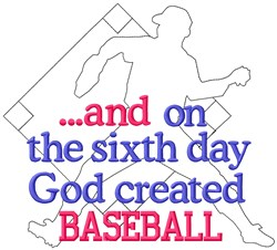 6th Day Baseball embroidery design