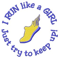 Run Like A Girl embroidery design