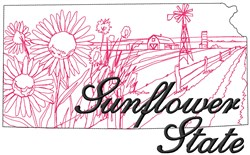 Sunflower State embroidery design