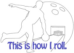 Roll Bowling embroidery design