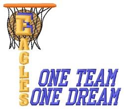 Eagles Basketball One Team embroidery design