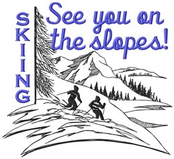 See You Skiing embroidery design