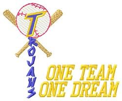 Trojans Baseball One Team embroidery design