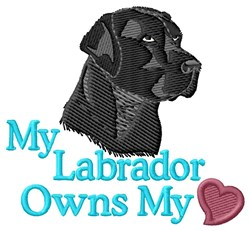 Black Labrador Owns Heart embroidery design