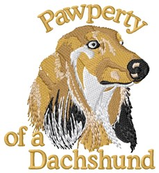 Pawperty Of A Dachshund embroidery design
