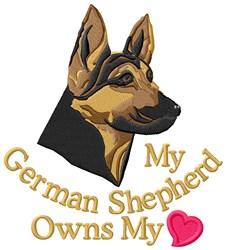 German Shepherd Owns Heart embroidery design