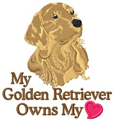 Golden Retriever Owns Heart embroidery design