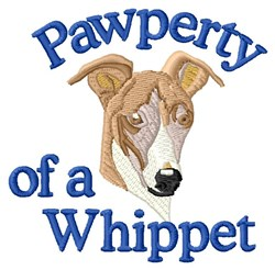 Pawperty Of A Whippet embroidery design