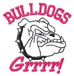 Bulldogs Grrrr embroidery design