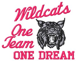 One Team Wildcats embroidery design