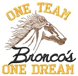 Broncos One Team embroidery design