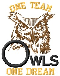 Owls One Team embroidery design