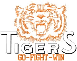 Tigers Go Fight embroidery design