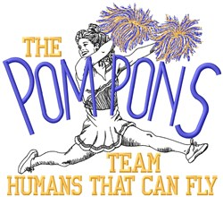 Pom Pons Fly embroidery design