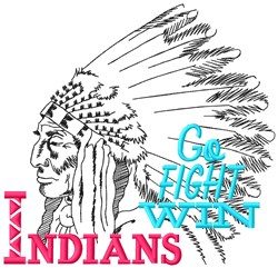 Indians Go Fight embroidery design