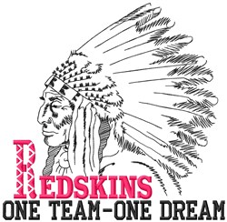 Redskins One Team embroidery design