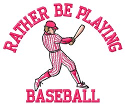 Playing Baseball embroidery design