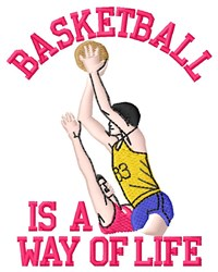 Basketball Life embroidery design