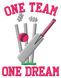 One Team Cricket embroidery design