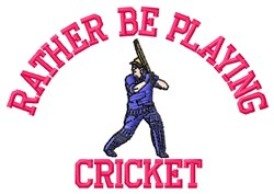 Playing Cricket embroidery design