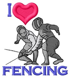 I Love Fencing embroidery design