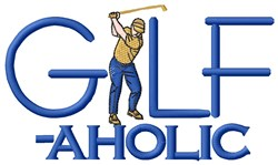 Golf-aholic embroidery design