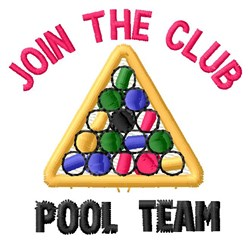 Join Pool Team embroidery design