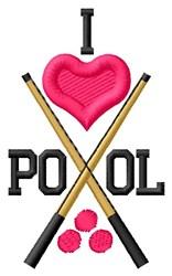 I Love Pool embroidery design