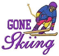Gone Skiing embroidery design