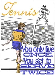 Tennis Serve Twice embroidery design