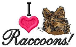 I Love Raccoons embroidery design
