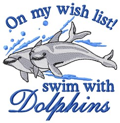 Swim With Dolphins embroidery design