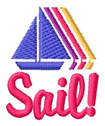 Sail Boat Rainbow embroidery design