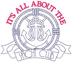 Yacht Club Anchor embroidery design