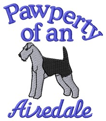 Airedale Pawperty embroidery design