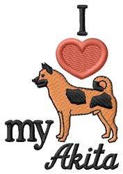 Love My Akita embroidery design