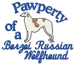 Borzoi Pawperty embroidery design