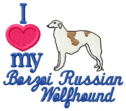 Love My Borzoi embroidery design