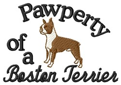 Boston Terrier Pawperty embroidery design