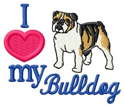 Love My Bulldog embroidery design