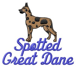Spotted Great Dane embroidery design