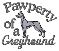 Greyhound Pawperty embroidery design