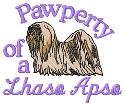 Lhasa Apso Pawperty embroidery design