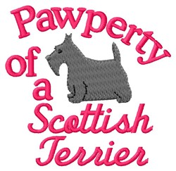 Scottish Terrier Pawperty embroidery design