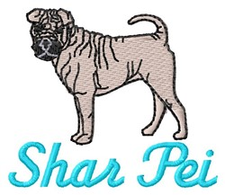 Shar Pei embroidery design