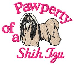 Shih Tzu Pawperty embroidery design